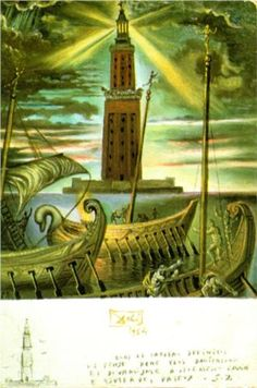 Salvador Dali - The Lighthouse at Alexandria. Although this piece was not painted until 1954, it represents what was a great Hellenistic center of knowledge - Alexandria in Egypt, with its great library, named for Alexander the Great. Kandinsky, Salvador Dali Paintings, Art Du Monde, Photo D Art, Seven Wonders, Spanish Artists, Statues, Magritte, Art Moderne