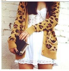 Leopard cardigan...This sweater is so cute.