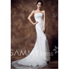 $109.38 Exquisite Strapless Embroidery and Layered Design Women's Lace Hem Mermaid Wedding Dress