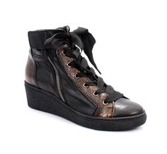 Black / Bronze Leather Ankle Wedge Booties / Sneakers 20% OFF- Code PINTEREST20