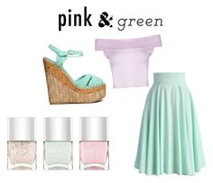 """""""Spring green and pink"""" by samantha-cray ❤ liked on Polyvore featuring Nails Inc., Chicwish and Qupid"""