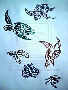 Tribal Turtles Tattoo Designs by vermilionchaos.deviantart.com on @deviantART