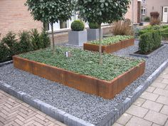 Garden Design London, Small Garden Design, Front Yard Patio, Front Yard Landscaping, Back Gardens, Outdoor Gardens, Steel Garden Edging, Diy Garden Projects, Modern Landscaping