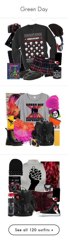 """""""Green Day"""" by neverland-is-just-a-dream-away ❤ liked on Polyvore featuring Nikon, WeSC, Adrienne Landau, Muji, Abercrombie & Fitch, P.J. Salvage, Tarnish, Nintendo, Monki and Dr. Martens"""