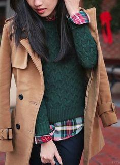 #winter #fashion / Green Knit / Camel Coat / Plaid Shirt