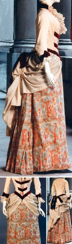 1883.  Vestido en lana brocado..