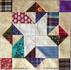 from Pat Speth's Nickel Quilts -- Deli Geese Project. She is providing wonderful scrap blocks and the one shown is # 42 Sampler Quilts, Star Quilts, Scrappy Quilts, Jellyroll Quilts, Mini Quilts, Quilt Block Patterns, Pattern Blocks, Quilt Blocks, Star Blocks