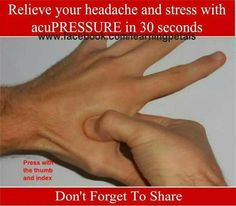 A simple natural tip to ease headache and stress SHARE this tip to your friends and family