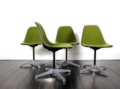 Green Eames Herman Miller Shell Chairs. Set of Four.