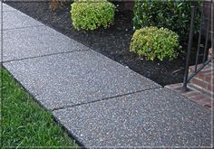 ** like this exposed aggregate a lot** aggregate sidewalk Exposed Aggregate Driveway, Exposed Concrete, Painting Concrete, Stained Concrete, Back Patio, Backyard Patio, Driveway Landscaping, Driveway Ideas, Stone Driveway
