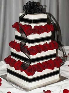 Wedding, Cake, Red, White, Black