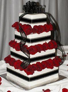 Wedding, Cake, Red, White, Black