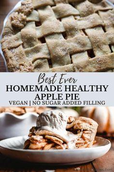 Healthy Pie Recipes, Vegan Dessert Recipes, Gluten Free Desserts, Healthy Desserts, Healthy Recipes With Apples, Paleo Apple Recipes, Vegan Snacks, Healthy Food, Sugar Free Apple Pie
