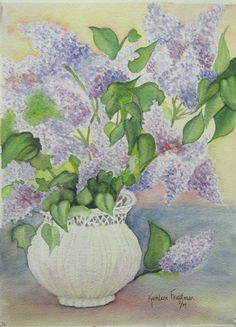 Lilacs in watercolor a study by Kathleen Friedman