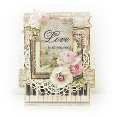 Beautiful Vintage Shabby Chic Wedding Card by Betik. Shabby Chic Karten, Shabby Chic Cards, Pretty Cards, Love Cards, Card Making Designs, Romantic Cards, Ideas Geniales, Beautiful Handmade Cards, Paper Cards