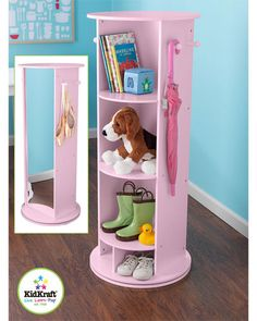 KidKraft Swivel Vanity  •This pink swivel vanity is perfect for children's dress-up play  •Complete 360° swivel  •Five convenient storage compartments provide plenty of space for jewelry, shoes, toys and more  •Four pegs are great for hanging dress-up clothes, purses, feather boas, coats and hats  •Tall, shatterproof mirror is perfect for kids to model their dress-up costumes  •Made of MDF  •Measures 18in in diameter x 43.75in high  •Appropriate for ages 3 years and up
