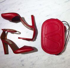 Elegant ox blood heels and bag