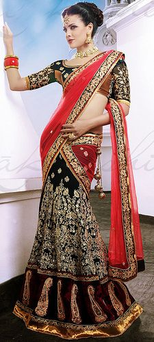 Designer Made Black Lehenga Saree with Red Pallu.