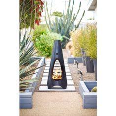 sleek outdoor fireplace