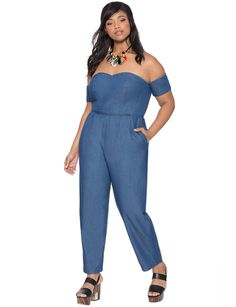 Studio Sweetheart Chambray Jumpsuit | Women's Plus Size Dresses | ELOQUII