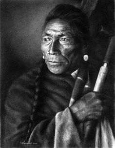 Black Dog, of the Assiniboin people, United States of America. Work in charcoal by Stephanie Campos.
