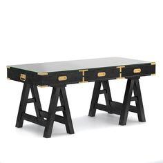 Campaign Desk, Oak, Artisanal Black, Antique Brass