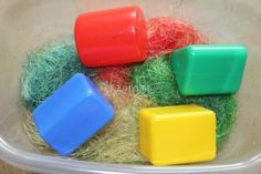 Corn Silk Color and Shape Sensory Bin