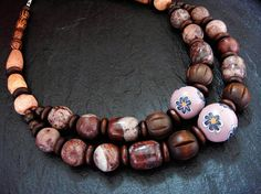 Handmade Multistrand Necklace Tribal Beaded Jewelry by ElPourElle
