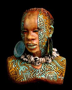 """The """"African Nouveou"""" sculptures by Woodrow Nash - Simplesmente Artes Arte Tribal, Tribal Art, Ceramic Figures, Ceramic Art, African Artwork, African Sculptures, Black Artwork, Maquillage Halloween, African Masks"""