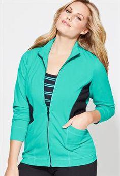 Plus Size Colorblock Yoga Jacket image