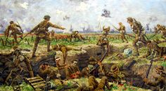 """""""Troops Going over the Top, First World War (Battle of the Somme)"""