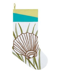 This White & Blue Shell Stocking is perfect! #zulilyfinds
