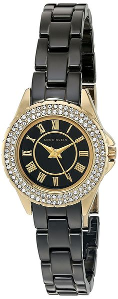 Anne Klein Women's AK/2204BKGB Swarovski Crystal Accented Black Ceramic Bracelet Watch * Check out the watch by visiting the link.