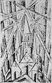 Bauhaus - Lyonel Feininger - 1919 carving on wood. Couverture du manifeste et programme du Bauhaus. Trois etoiles - peinture, sculpture, architecture.