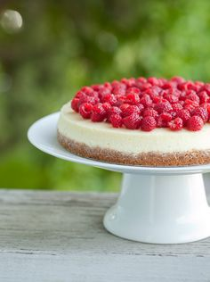 goat cheese cheesecake with fresh raspberries - Sugar and Charm - sweet recipes - entertaining tips - lifestyle inspiration Winter Desserts, Party Desserts, Just Desserts, Delicious Desserts, Yummy Food, Best Cheesecake, Raspberry Cheesecake, Cheesecake Recipes, Goat Cheese Cheesecake Recipe