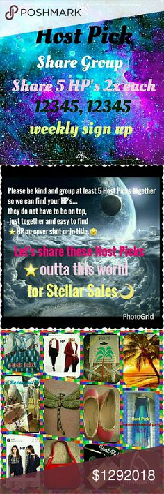 HPSG wkly (1/29) sign up sheet CLOSES Mon 5pm EST Host Pick Share Group This share group is going to help us sell the beautiful host picks given to us by our fellow poshers.💜 You must have at least 5 Host Picks to join. You must be posh compliant. We are sharing 5 HOSTpicks 2x each as 12345, 12345...This is a weekly sign up. So please make sure you can do all week. And sign out date when finished🌴⛵Now taking 2 days off, make sure you date those too💝 Thank you ladies  Robin Other