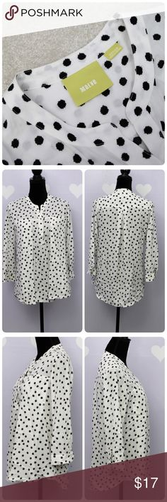 Anthropologie Maeve Polka Dot Top Haven't tried to remove the stain on the sleeve, it is unnoticeable. Other than that, this is an excellent button down top. Can be worn casual or office attire Material 100% rayon  Measurements are taken flat (approx). Length: 27 Armpit across: 19.5 Sleeve: 19 Anthropologie Tops Blouses