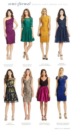 More than 50 dress ideas for what to wear to a semi formal fall wedding. Plus, guidelines on how to decide what to wear to a fall wedding, and advice on dress codes for fall weddings. Plus picks for pretty dresses to wear to fall and autumn weddings. Semi Formal Dresses For Wedding, Formal Wedding Guests, Fall Wedding, Autumn Weddings, Wedding Dresses, Semi Formal Attire For Women, What To Wear To A Wedding As A Guest, Wedding Guest Attire, Cocktail Attire For Women
