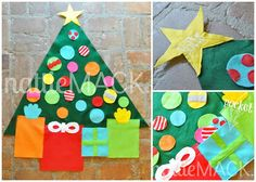 Play Felt Christmas Tree - use gift box shapes as storage for ornaments