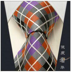 Checked Multi-color Grey Gray Orange Purple Men's Ties Neckties 100% Silk Tie Men Wedding Men Ties For Men Casual Dress Tie Men $5.29