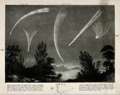 Astronomy: comets in a night sky. CC-BY Wellcome Library.