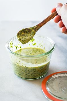 A recipe for an Out of This World Tahini Herb Sauce (basil parsley tahini garlic.) to spread over tacos pizza chicken shrimp eeeverything! Sauce Tahini, Tahini Recipe, Soy Sauce, Pesto Dip, Sauce Recipes, Whole Food Recipes, Healthy Cooking, Cooking Recipes, Cooking Sauces