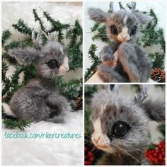 Frosted Baby Jackalope - Poseable Fantasy Creature by RikerCreature