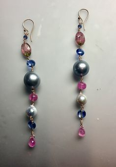 rose gold with pink sapphire, pink tourmaline, Tahitian pearl, kyanite, blue sapphire & pearl 18k Gold Earrings, Drop Earrings, Tahitian Pearls, Pink Tourmaline, Pink Sapphire, Stone Jewelry, Jewelry Making, Rose Gold, Silver