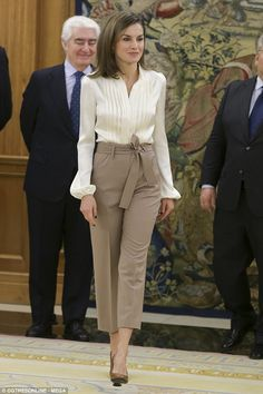 The Spanish Queen welcomed representatives from UNICEF to the royals' Madrid residence...