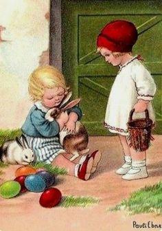 Easter Children with Bunnies & Eggs ~ Vintage French Postcard Easter Greeting Cards, Vintage Greeting Cards, Vintage Postcards, Easter Art, Easter Crafts, Vintage Easter, Vintage Holiday, Toys Drawing, Easter Illustration