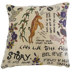 Scatter Cushion.  Wonder Boy range: Wonderboy on Raw Linen.  Please visit our website www.halsteddesign.com to read about Wonderboy's very special journey as an artist of Ardmore Ceramics.