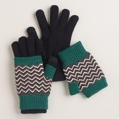 Our ultra-versatile gloves give you three options to keep your hands and fingers warm in one affordable pair. Wear the gloves with metallic fingertips to type on your smart phone, the fingerless gloves on warmer days, or layer them both for extra warmth!