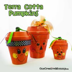 Terra Cotta Pumpkins Makeover--It was so easy to update an old project by adding switching leaves for ribbons.  #pumpkin #halloween #pot