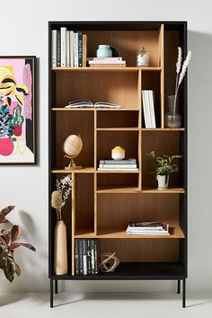 Oak Blackbird Bookshelf by Ethnicraft in Beige Size: All, Storage at Anthropologie Hanging Furniture, Office Furniture, Office Chairs, Oak Bookshelves, Unique Bookshelves, Slim Bookcase, Muebles Home, Unique Desks, Bookshelf Design